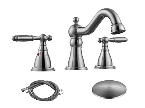 (RKF Two Handle Widespread Bathroom Sink Faucet with Pop-up Drain with overflow and Faucet Supply Hoses,Brushed Nickel,WF013-4-BN)