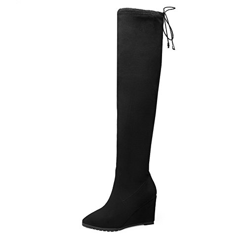 High Pointed Black Toe Boots Top Frosted AgooLar High Closed Heels Women's Solid I6xHqqwpA