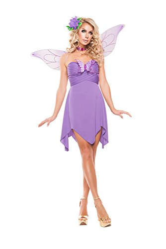 Starline Women's Elegant Lilac Fairy 3 Piece Costume Set with Wings, Lilac, Large