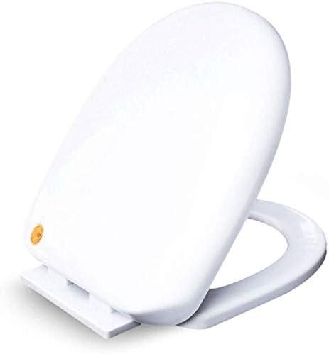 S優雅な便座U形抗菌トイレスロークローズミュートとユニバーサルトイレふた、バスルームと洗面所用の超耐性底面取り付け便座カバー、ホワイト