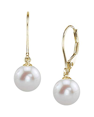 THE PEARL SOURCE 14K Gold 8-9mm AAAA Quality Round White Freshwater Cultured Pearl Leverback Earrings for Women ()