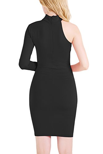 Yming Sexy Parti Stretch Manches Longues Moulante Femmes Robe Noire 01
