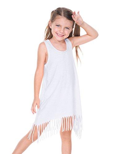 Kavio! Girls 3-6X Sheer Jersey Raw Edge Fringe Asymmetrical Tank Dress White 3 -