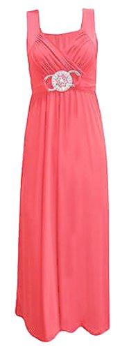 Frauen plus size Schnalle Taille binden zurück Abend lange Maxi-Kleid (40/42, Coral)