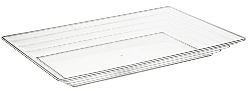 "Elegant Disposable Plastic Serving Trays – Heavyweight Fancy 9""x13"" Rectangular Clear Serving Platters - Reusable Party Appetizer Platter Set For Wedding, Thanksgiving, Birthday & Other Occasions ()"