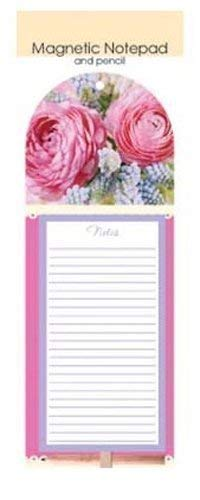 The Home Fusion Company Magnetic Memo Pad & Pencil Fridge Magnet Shopping List Flowers