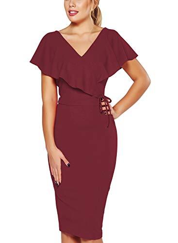 Fantaist Womens Party Dresses Ruffle Backless Knee Length Bodycon Wedding Guest Dress (L, FT645-Burgundy)