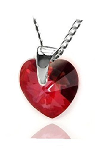d2b567639 Red Magma Made with Swarovski Crystals Heart Sterling Silver 925 Pendant  Necklace for Women,18""