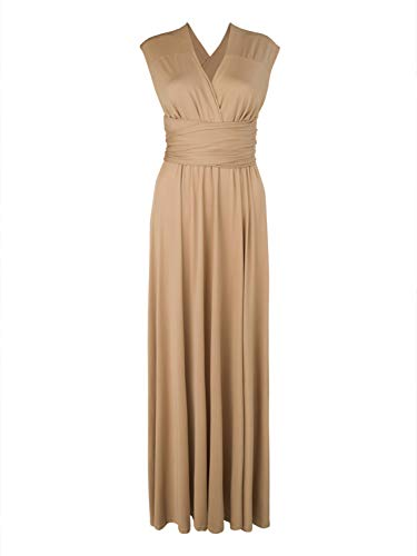 Clothink Convertible Wrap Maxi Long Dress Wedding Party Women Brown Large