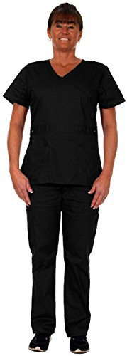 Heartbeat Scrubs Women's Scrub Set-V-Neck 4 Pocket Top and 4 Pocket Cargo Pant -#1064 (Medium, Black) (Reversible Solid Scrub)