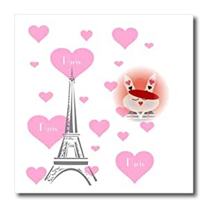 ht_161205_3 Florene France - French Bunny Surrounded by Hearts and Eiffel Tower - Iron on Heat Transfers - 10x10 Iron on Heat Transfer for White Material