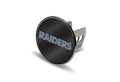 NFL Oakland Raiders Laser Cut Metal Hitch Cover, Large, Silver by Rico