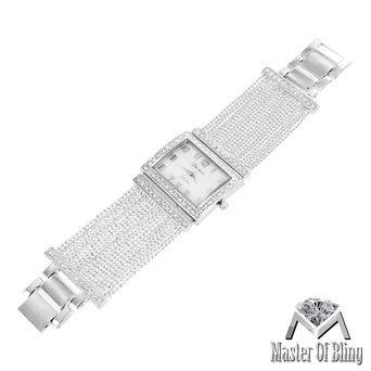 Square Face Ladies Watch 14k White Gold Plated Elegant Bracelet Band Lab - Diamond Platinum Watch