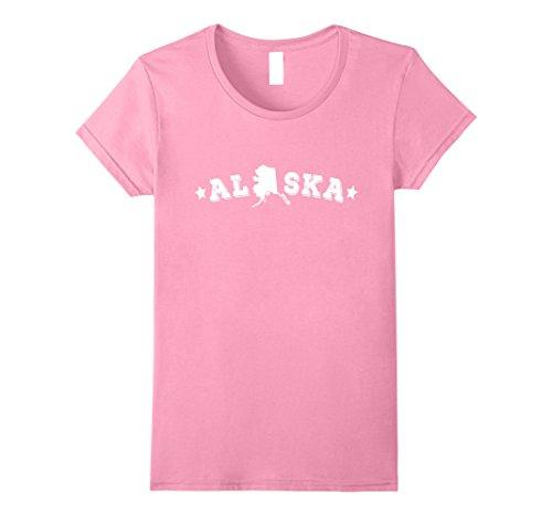 [Womens Alaska American States Geography T-Shirt Large Pink] (Alaska Womens Pink T-shirt)