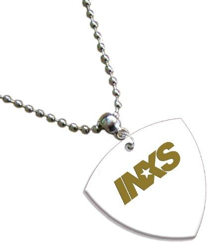 INXS Hot Foil on White Bass Pick Collier Médiator