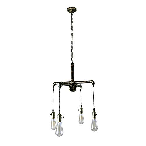 American Style Iron Art Water Pipe Chandelier/Pendent Lamp Creative Retro be Old Parlour Restaurant Lamps Lighting Fixture Illumination 4 Head Metallic Color Decoration Lamps, BOSSLV