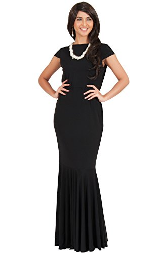 KOH KOH Womens Long Cap Short Sleeve Formal Sexy Evening Prom Cocktail Bridesmaids Wedding Party Guest Tube Flowy Cute Fishtail Gown Gowns Maxi Dress Dresses, Black L 12-14