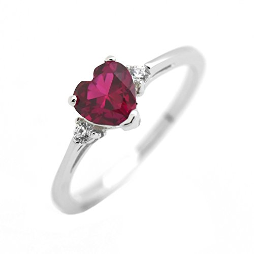 Cute Heart Simulated Birthstone Cubic Zirconia Sterling Silver Girls Womens Ring Size 5 - Ruby (Ring July Silver Birthstone)