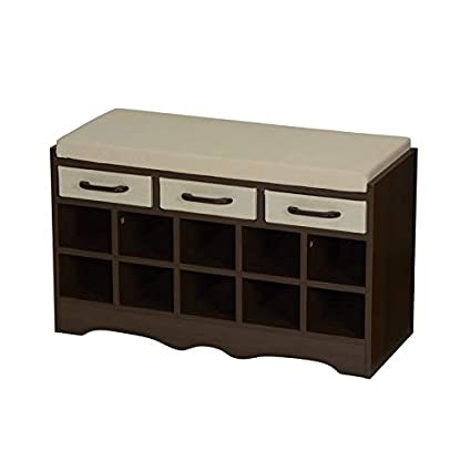 Excellent Amazon Com Storage Bench With 2 Seat Cushion Wood Ncnpc Chair Design For Home Ncnpcorg