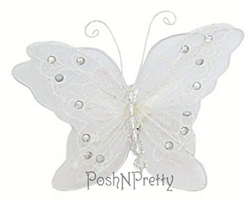 Fairy Glitter Butterfly Wings, Newborn, Baby, Photography prop - Color: WHITE -