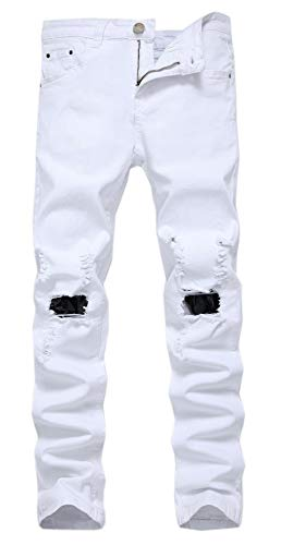 - Qazel Vorrlon Men's Slim Fit White Stretch Destroyed Ripped Skinny Denim Jeans W33,White 72