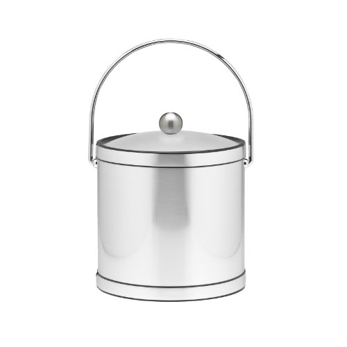 Kraftware Ice Bucket with Bale Handle and Lucite Cover - 3 Quart, Brushed Chrome, Double Walled, Leak Resistant, MADE IN U.S.A.
