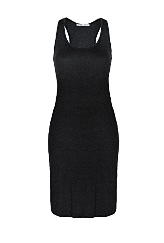 [Beachcoco Women's Fitted Jersey Midi Length Dress (L, Black)] (Maternity Jersey Dress)