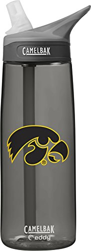 NCAA Iowa Hawkeyes Unisex CamelBak Eddy 75L Collegiate Water Bottle, CHARCOAL, 75 (Iowa Hawkeyes Ncaa Beverage)