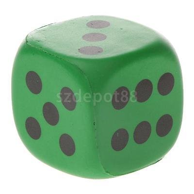 1pc Soft PU Sponge Six Sided Dice Toy Party Playing Board Game Aid 4cm Green by uptogethertek