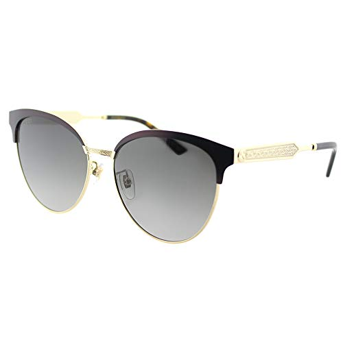 Gucci Women Design Sunglasses GG0074S 004 Burgundy Gold with Grey Gradient Lens
