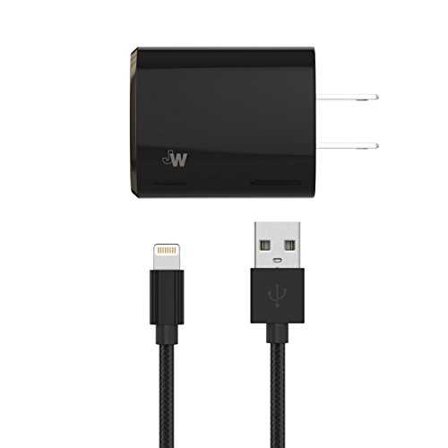Just Wireless Wall Charger Two Port Dual USB 17W/3.4A with 6-Feet Lightning to USB Cable to Charge and Sync iPhone, iPad, iPod - Apple MFI Certified - Black