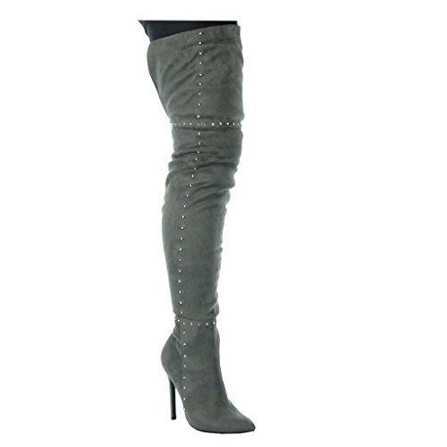Angkorly - Women's Fashion Shoes Thigh Boot - Stiletto - Sexy - Cavalier - Studded Stiletto high Heel 11 cm Grey