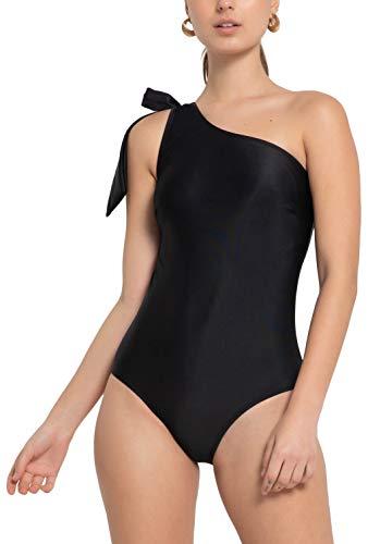 - ToBeInStyle Women's 1Pc 1 Shoulder Swimsuit w/Tie Ribbon - Black - S