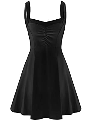 Elesol Women Spaghetti Strap Swing Dress Flare A Line Midi Dress