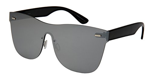 Edge I-Wear Rimless One piece Style Sunglasses with Flat Color Mirrored Lens - Lens One Sunglasses Piece