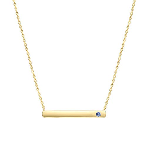 PAVOI 14K Gold Plated Swarovski Crystal Birthstone Bar Necklace | Dainty Necklace | Gold Necklaces for Women | Septebmer