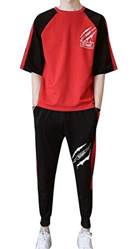DFBB Men's Crew Neck Vogue Short Sleeve Hip Hop Shorts Summer 2 Piece Suit Outfits Tracksuit Red XS