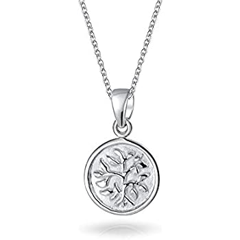 86541f8dd7e1a Small Reversible Family Tree Of Life Pendant Round Disc Wishing Tree  Necklace For Women Sterling Silver