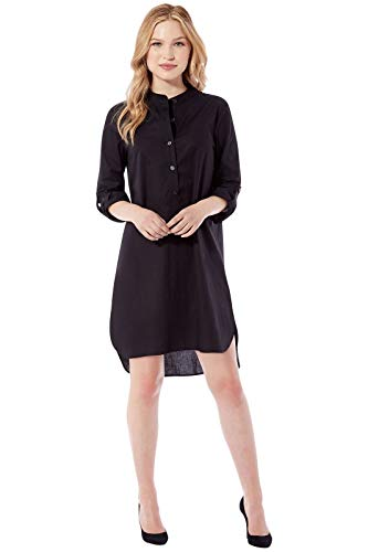 Rohb by Joyce Azria Capri 2-in-1 Combo Button Down Mandarin Collared Tunic Shirt and Dress (Black) Size M