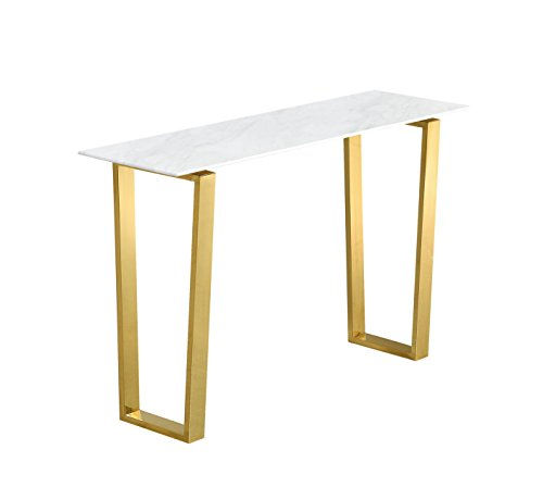 Meridian Furniture 212-S Cameron Rich Stainless Steel Console Table with Stone Top, 48