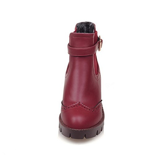 Romanesque Leather Round Imitated AdeeSu Style Boots Toe Buckle Claret Womens qnv4ww10I