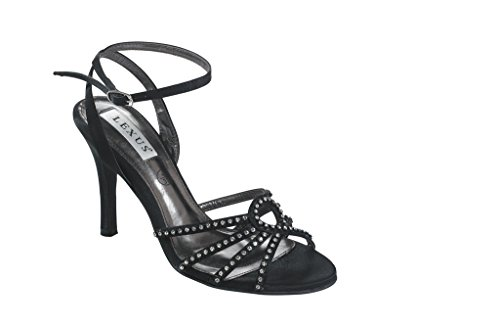 LEXUS Z028 - Sandalias de vestir de satén para mujer negro - negro