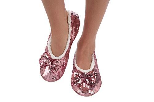 Snoozies Women's Ballerina Metallic Shine Pink Sequin Slippers-Small (5-6) ()