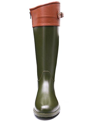 TONGPU Women's Fashion Tall Knee-High Leather Wrap Waterproof Wellies Rain Boot Khaki fHHSCcU9dm