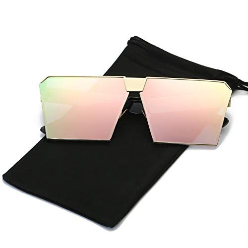 Womens Square Sunglasses - LKEYE - Unique Oversize Shield Vintage Square Sunglasses LK1705 Gold Frame/Pink Lens