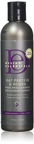 Design Essentials Oat Protein & Henna Deep Cleansing Shampoo for Fuller, Thicker, Stronger, Longer Hair-8oz.