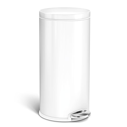 simplehuman CW2045 Round Step Can 35L/9 Gal, 35 Liter (9 Gallon), White Steel, 9 Piece (White Kitchen Pedal Bin)
