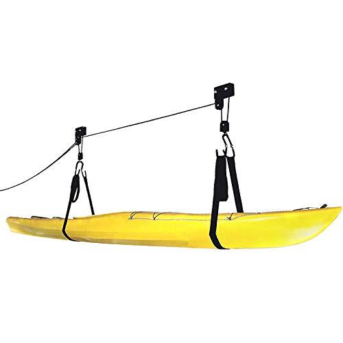 Indoor Kayak & Canoe Ceiling Storage Hoist | Heavy Duty Garage Hanging Lift Pulley Rack Cradle Set for Paddle Board, Bike, Surfboard,Snow Board,Wake Board | 150 lb Capacity