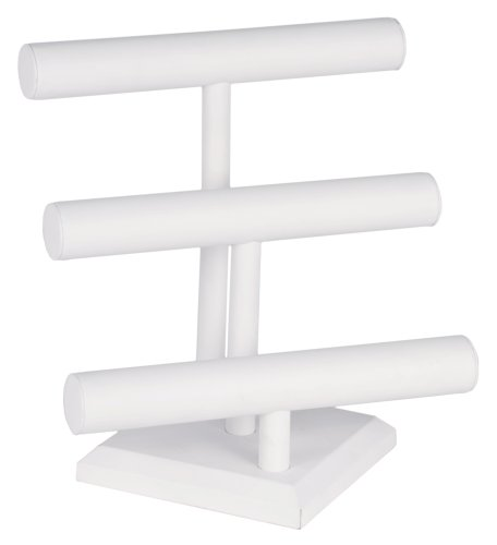 KC Store Fixtures 49132 Jewelry T-Bar Display for Necklace and Bracelets, 3-Tier, White Leatherette, 12 3/4 Inches High