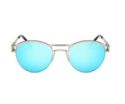 féminine de Lunettes Hellomiko punk masculine non soleil Argent rétro Blue et polarisées lunettes personnalité de Ice q7x8qnR